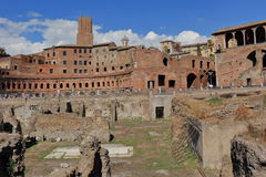 Ruins of the ancient buildings of Trajan Forum in Rome Royalty Free Stock Images