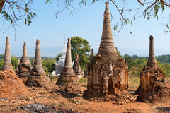 Ruins of ancient Burmese Buddhist pagodas Stock Images