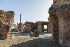 Ruins of the ancient Carthage city, Tunis, Tunisia, North Africa stock photos