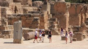 Ruins of ancient Carthage in Tunisia stock video footage