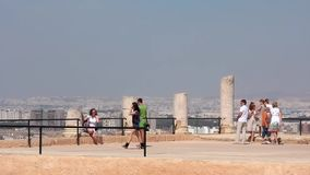 Ruins of ancient Carthage in Tunisia. CARTHAGE, TUNISIA, JULY 7, 2010: People at ruins of ancient Carthage. Carthage is a suburb of Tunis, and was the centre of stock video footage