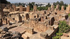 Ruins of ancient Carthage in Tunisia. Carthage is a major urban centre that has existed for nearly 3,000 years on the Gulf of Tunis, developing from a stock footage