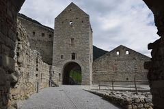 The ruins of an ancient castle fortress , walls with towers and drawbridge in south tyrol italy Royalty Free Stock Photography