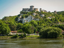Ruins of an ancient castle on the river shore, Les Andeles, Fran Royalty Free Stock Images