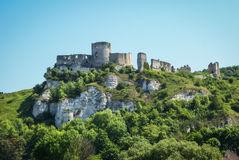 Ruins of an ancient castle on the river shore, Les Andeles, Fran Royalty Free Stock Photo