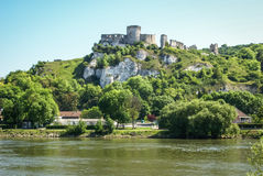 Ruins of an ancient castle on the river shore, Les Andeles, Fran Royalty Free Stock Image