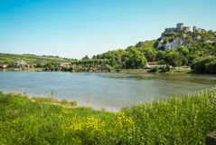Ruins of an ancient castle on the river shore, Les Andeles, Fran Royalty Free Stock Photos