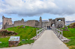 The ruins of famous Urquhart Castle in Scottish Highlands Royalty Free Stock Photos
