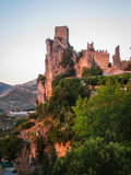 Ruins of an ancient castle at sunset, La Iruela, Andalusia, Spai Stock Images