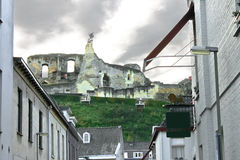 The ruins of an ancient castle in Valkenburg. Stock Photography