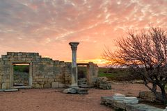 Ruins of Ancient Chersonesos in the Crimea, Russia. Landscape in. The rays of the setting sun stock images