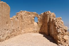 Ruins of ancient church with arched window Stock Photos