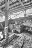 Ruins of an ancient church in black and white Royalty Free Stock Photos