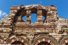 Ruins of Ancient Church of the Holy Archangels Michael and Gabriel in the town of Nessebar, Royalty Free Stock Photo
