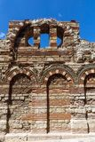 Ruins of Ancient Church of the Holy Archangels Michael and Gabriel in the town of Nessebar, Royalty Free Stock Photography