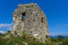 Ruins of an ancient Circassian fortress of the 6th century. Abkhazia, Georgia.  Royalty Free Stock Photos