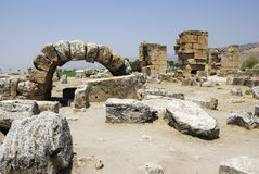 Ruins of ancient city. Ancient city Hierapolis near Pamukkale, Turkey Royalty Free Stock Photos