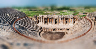 Ruins of ancient city. Ruins of the amphitheater in ancient Hierapolis, Turkey Stock Image