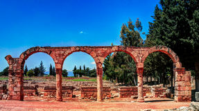 Ruins of ancient city Anjar in Bekaa valley Lebanon Stock Photo