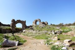 Ruins of the ancient city of Aspendos. Royalty Free Stock Photos