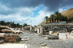 Ruins of ancient city Beit Shean ,Israel stock photo