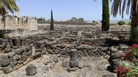 Ruins of ancient city Capernaum in Israel Royalty Free Stock Photo