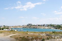 Ruins of Ancient city Chersonese, view of  Quarantine Bay. Sevastopol, Crimea Stock Photography