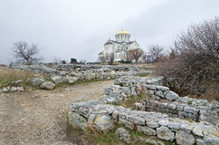 Ruins of an ancient city of Chersonese  & x28;Crimea& x29; Stock Photo