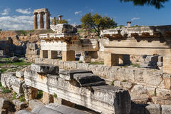 Ruins of the ancient city of Corinth Stock Image