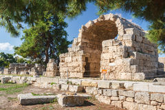Ruins of the ancient city of Corinth Stock Photography