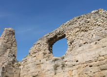Ruins of the ancient city in Crimea. Ruins of the ancient city and sunny sky, Hersonissos, Crimea Stock Image