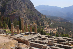Ruins of ancient city Delphi, Greece Royalty Free Stock Photography