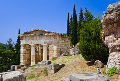 Ruins of the ancient city Delphi, Greece. Archaeology background Stock Photos