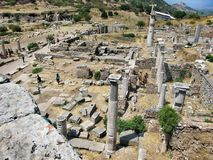 Ruins of the ancient city Ephes. Efes (Ephese) — a historical monument, the ancient antique city, its ruins are located in Turkey in 4 km to the South from Stock Photography