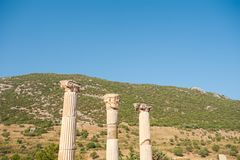 Ruins of the ancient city Ephesus, the ancient Greek city in Turkey, in a beautiful summer day royalty free stock images