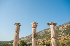 Ruins of the ancient city Ephesus, the ancient Greek city in Turkey, in a beautiful summer day stock image
