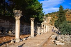 The ruins of the ancient city of Ephesus with theater and Celsus library, Turkey stock photo
