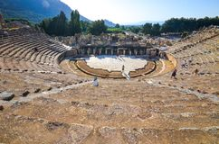The ruins of the ancient city of Ephesus with theater and the famous Celsus library, Turkey Royalty Free Stock Image