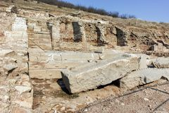 Ruins of ancient city Heraclea Sintica - built by Philip II of Macedon Stock Photos