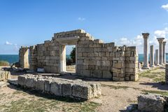 The ruins of the ancient city Hersonissos. Stock Photo