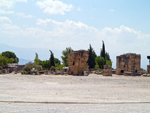 Ruins of the ancient city of Hierapolis and blue sky Royalty Free Stock Photography