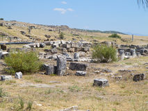 Ruins of the ancient city of Hierapolis and blue sky Royalty Free Stock Photos
