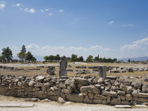 Ruins of the ancient city of Hierapolis and blue sky Stock Photography
