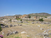 Ruins of the ancient city of Hierapolis and blue sky Stock Image