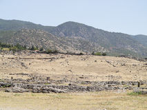 Ruins of the ancient city of Hierapolis and blue sky Stock Images