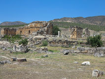 Ruins of the ancient city of Hierapolis and blue sky Royalty Free Stock Photo