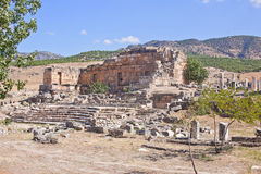 Ruins of the ancient city of Hierapolis. Pamukkale. Turkey Royalty Free Stock Photos