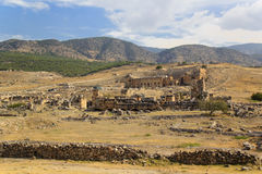 Ruins of the ancient city of Hierapolis in Pamukkale, Turkey Royalty Free Stock Photos