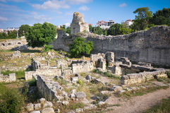 The ruins ancient city. The ruins of houses and ramparts of the ancient city royalty free stock images