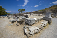 The ruins of the ancient city Kameiros (Kamiros). Rhodes island, Greece. Royalty Free Stock Photography